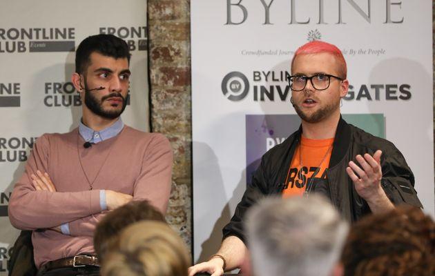 Shahmir Sanni, former volunteer for Vote Leave, left, listens as Christopher Wylie, former contractor...
