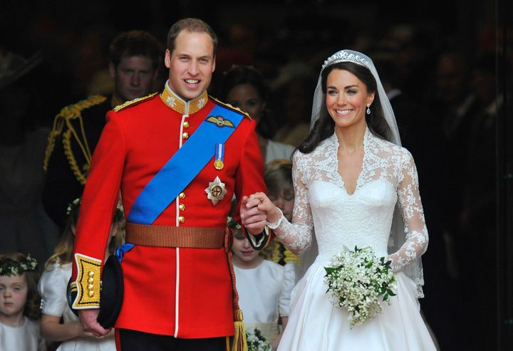 Britain's Prince Williamand the Duchess of Cambridge,after their April 2011 wedding ceremony at Westminster Abbey