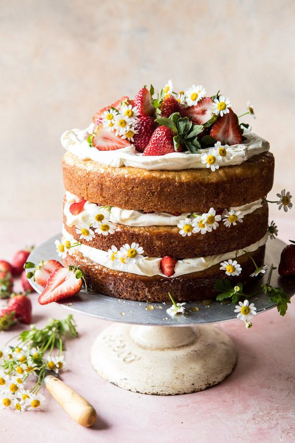 "<strong>Get the <a href=""https://www.halfbakedharvest.com/strawberry-chamomile-naked-cake/"" target=""_blank"">Strawberry Chamom"