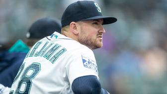 SEATTLE, WA - SEPTEMBER 9: Mike Marjama #28 of the Seattle Mariners stands in the dugout before a game against the Los Angeles Angels of Anaheim at Safeco Field on September 9, 2017 in Seattle, Washington. The Mariners won the game 8-1. (Photo by Stephen Brashear/Getty Images)