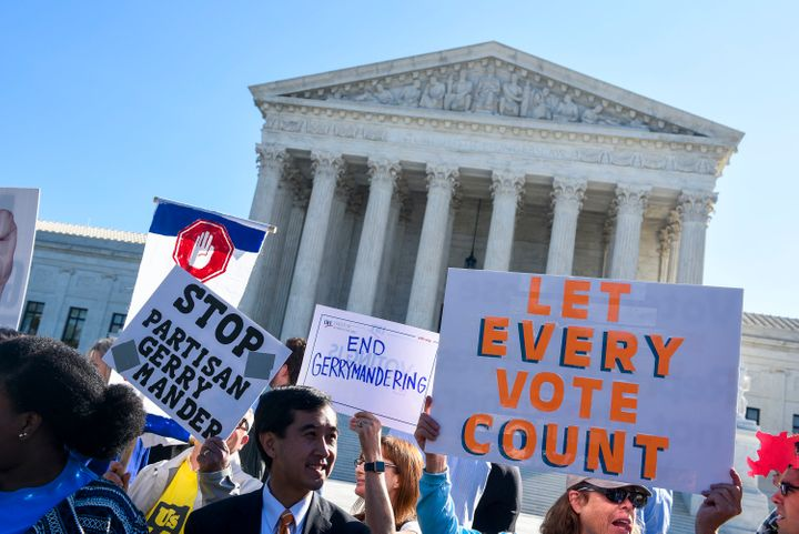 Protesters rally outside the Supreme Court on Oct 3, 2017. The addition of a citizenship question to the 2020 census&nbs