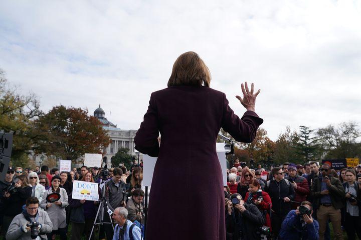 Nancy Pelosi rallies against the Republicans' tax bill on Nov. 15, 2017.