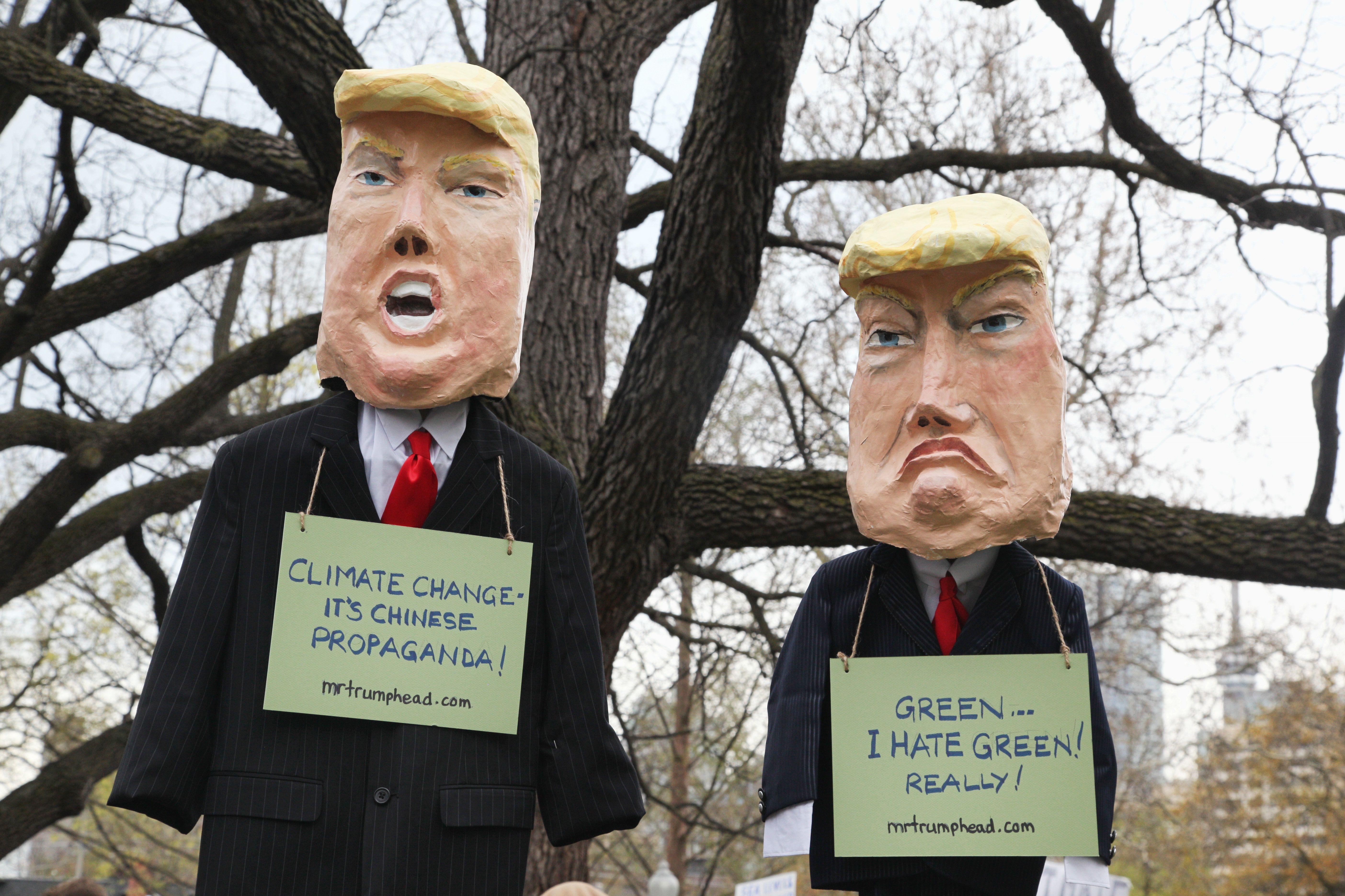 Effigies of Donald Trump during a massive march against climate change as part of the North American Day of Action in downtown Toronto, Ontario, Canada, on April 29, 2017. This march took place during U.S. President Donald Trump's 100th day in office and formed part of a North American Day of Action initiated by The People's Climate Movement. A massive march against climate change took place in Washington D.C. along with sister marches across the world. (Photo by Creative Touch Imaging Ltd./NurPhoto via Getty Images)