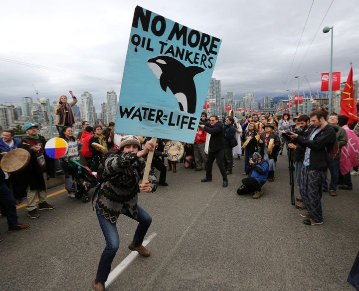Protesters in Vancouver march against the proposed expansion of the Kinder Morgan Trans Mountain Pipeline.