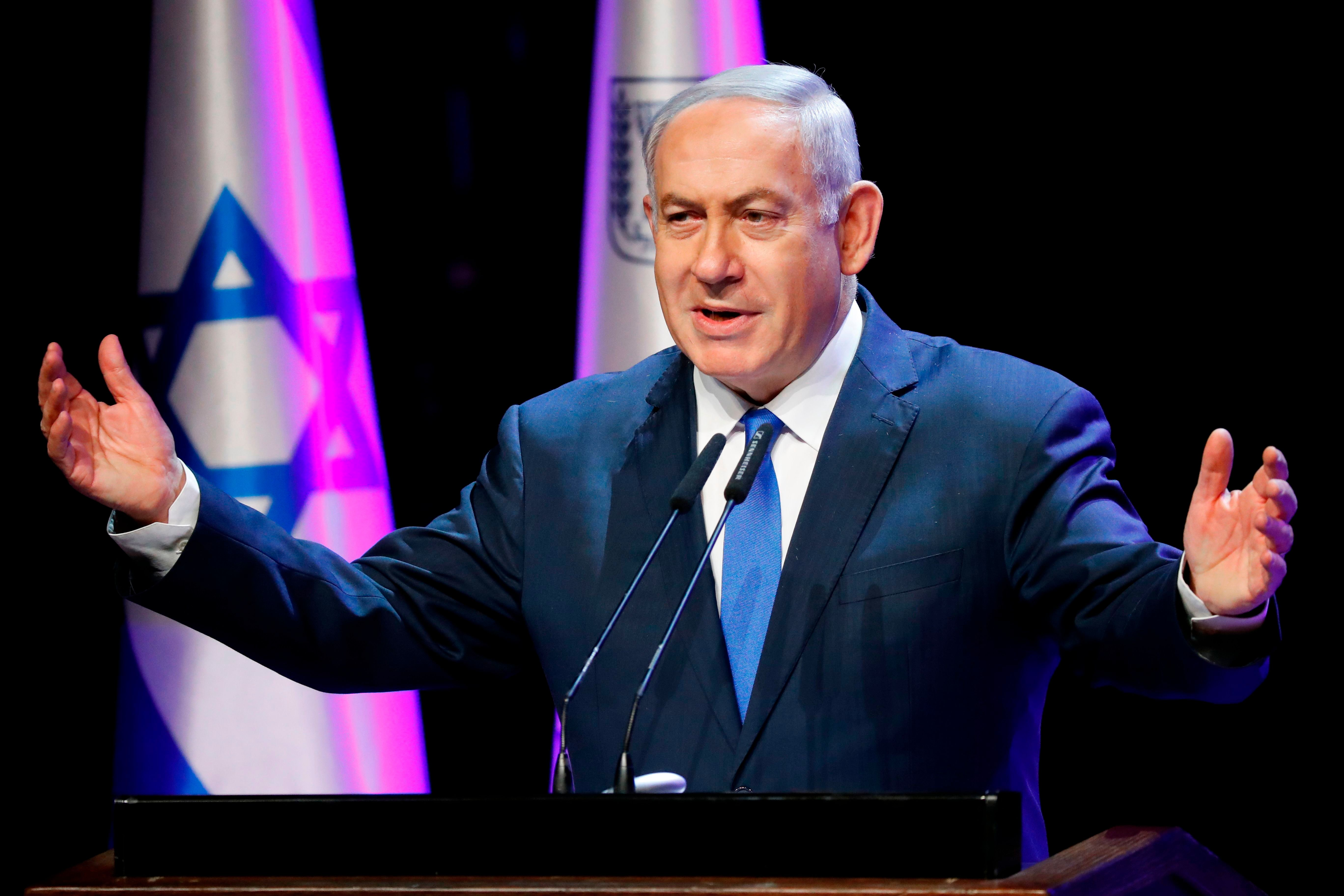Israeli Prime Minister Benjamin Netanyahu addresses the annual health conference in Tel Aviv on March 27, 2018. / AFP PHOTO / JACK GUEZ        (Photo credit should read JACK GUEZ/AFP/Getty Images)