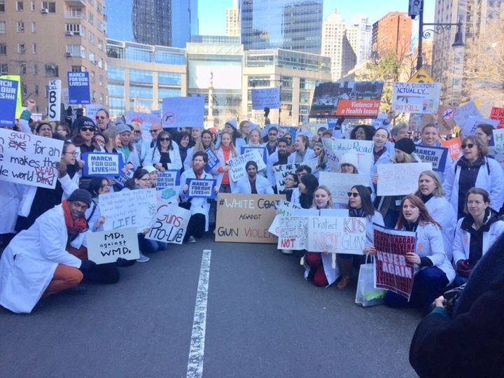 Doctors and medical students advocate for repealing the Dickey Amendment and funding gun violence research in New York City o