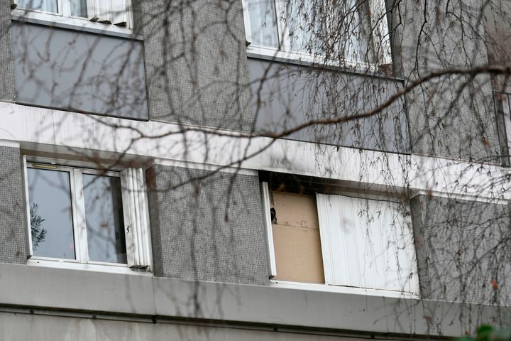A picture shows the window of the apartment of Mireille Knoll in Paris sealed by the police.