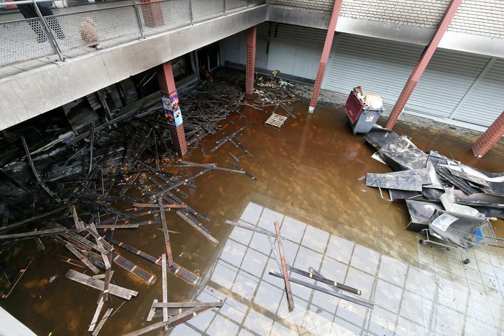 A picture taken on Jan. 9 shows a French kosher grocery store in Creteil, south of Paris, after it was destroyed in an a