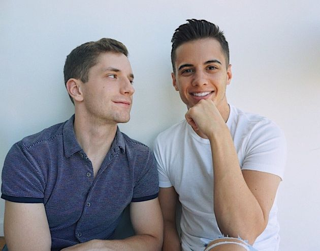 Stephen Maraffino (right) pictured with his fiancé, Gabriel, an Army