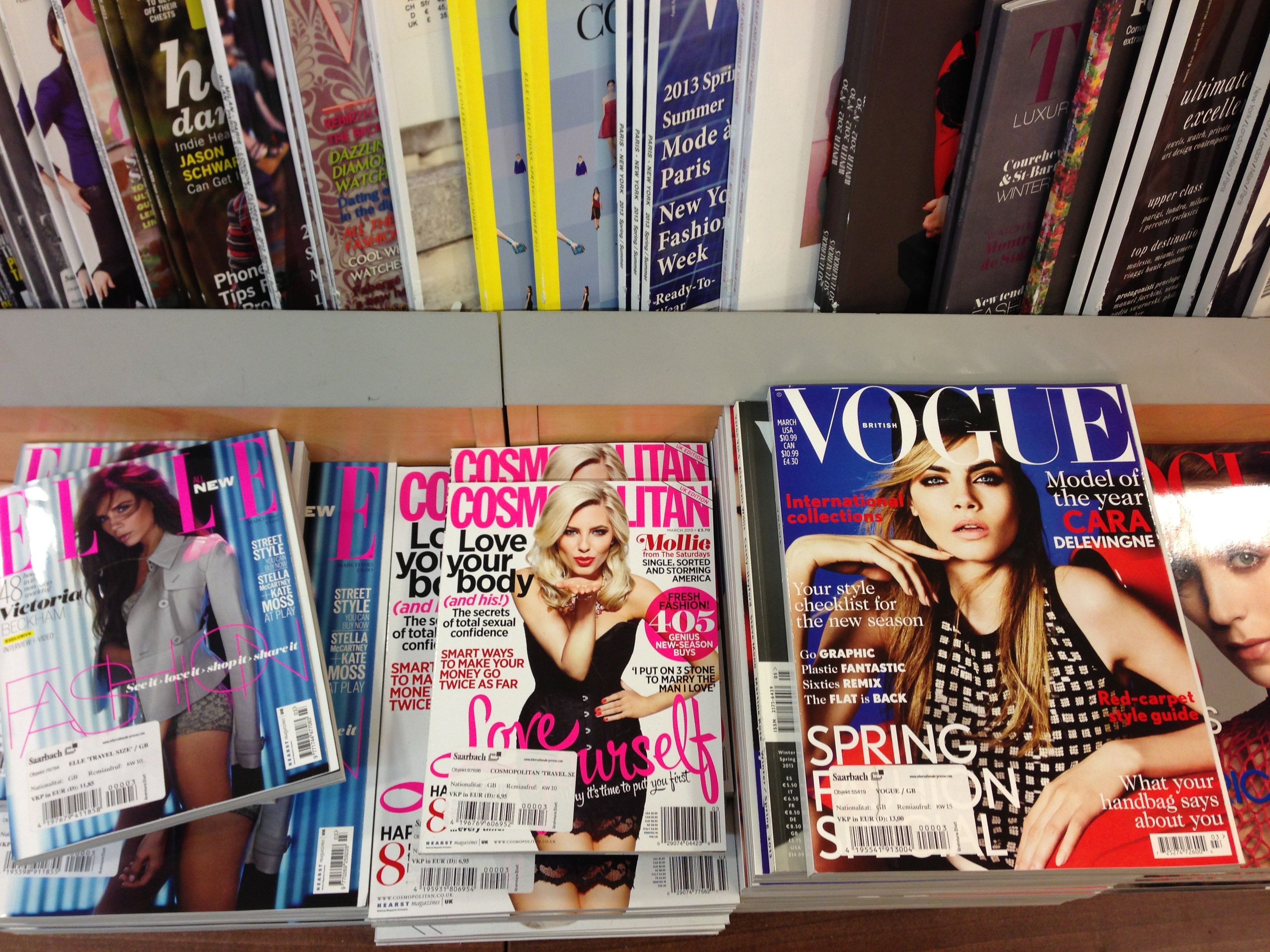 Cologne,Germany- February 23,2013: Popular british magazines in english language displayed inside a newsstand on the central station(Cologne,Germany)