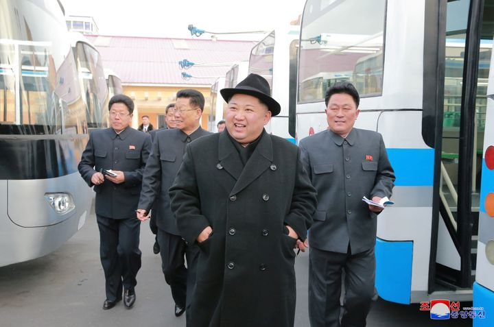 Kim Jong Un, pictured at a trolley factory in Pyongyang in February, reportedly arrived in Beijing by armored train this week
