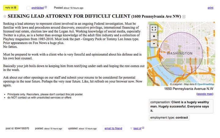 Spoof Craigslist Ad Seeks Lawyer For Donald Trump, And It's