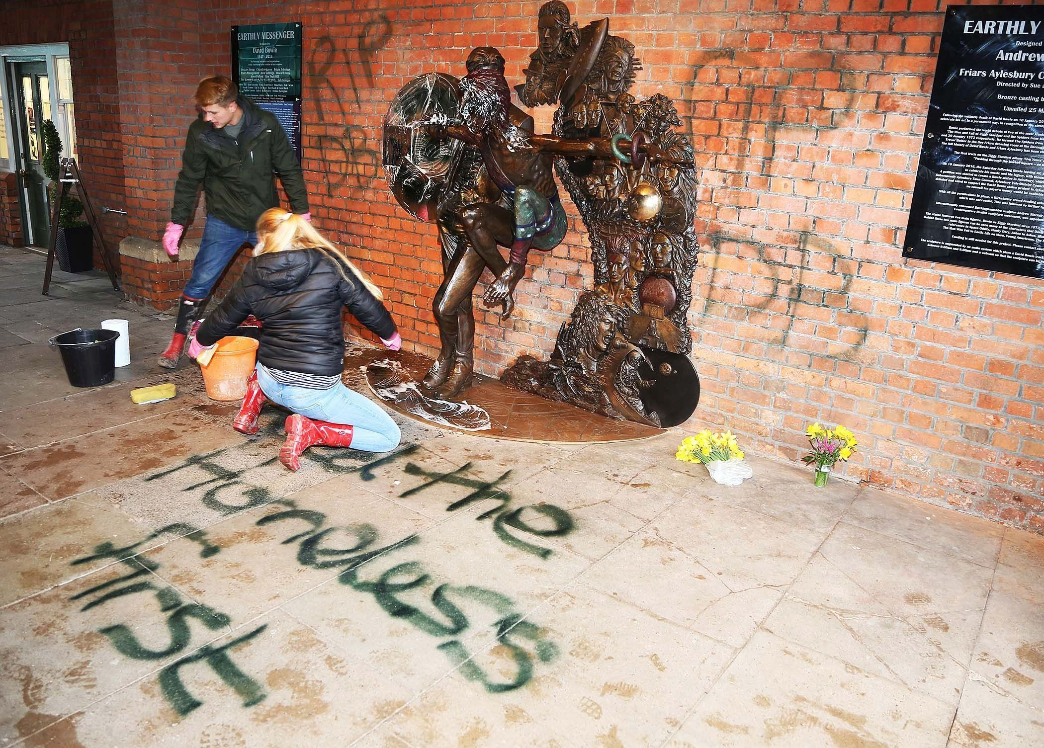 David Bowie Tribute Statue Vandalised With 'Feed The Homeless'