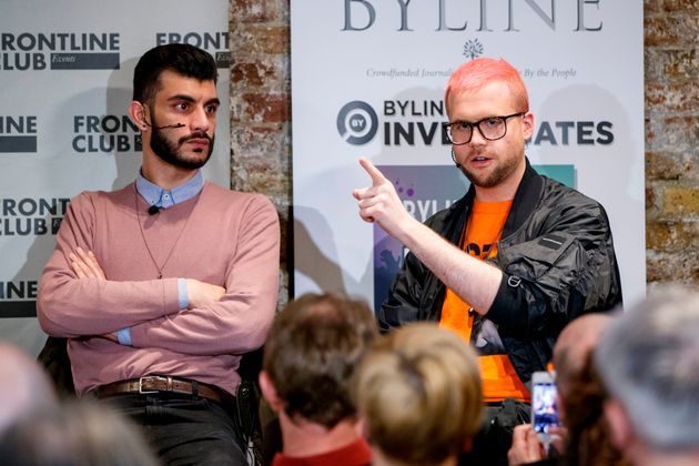 Shahmir Sanni (L), a volunteer for Vote Leave, and Christopher Wylie, who worked with Cambridge Analytica,...