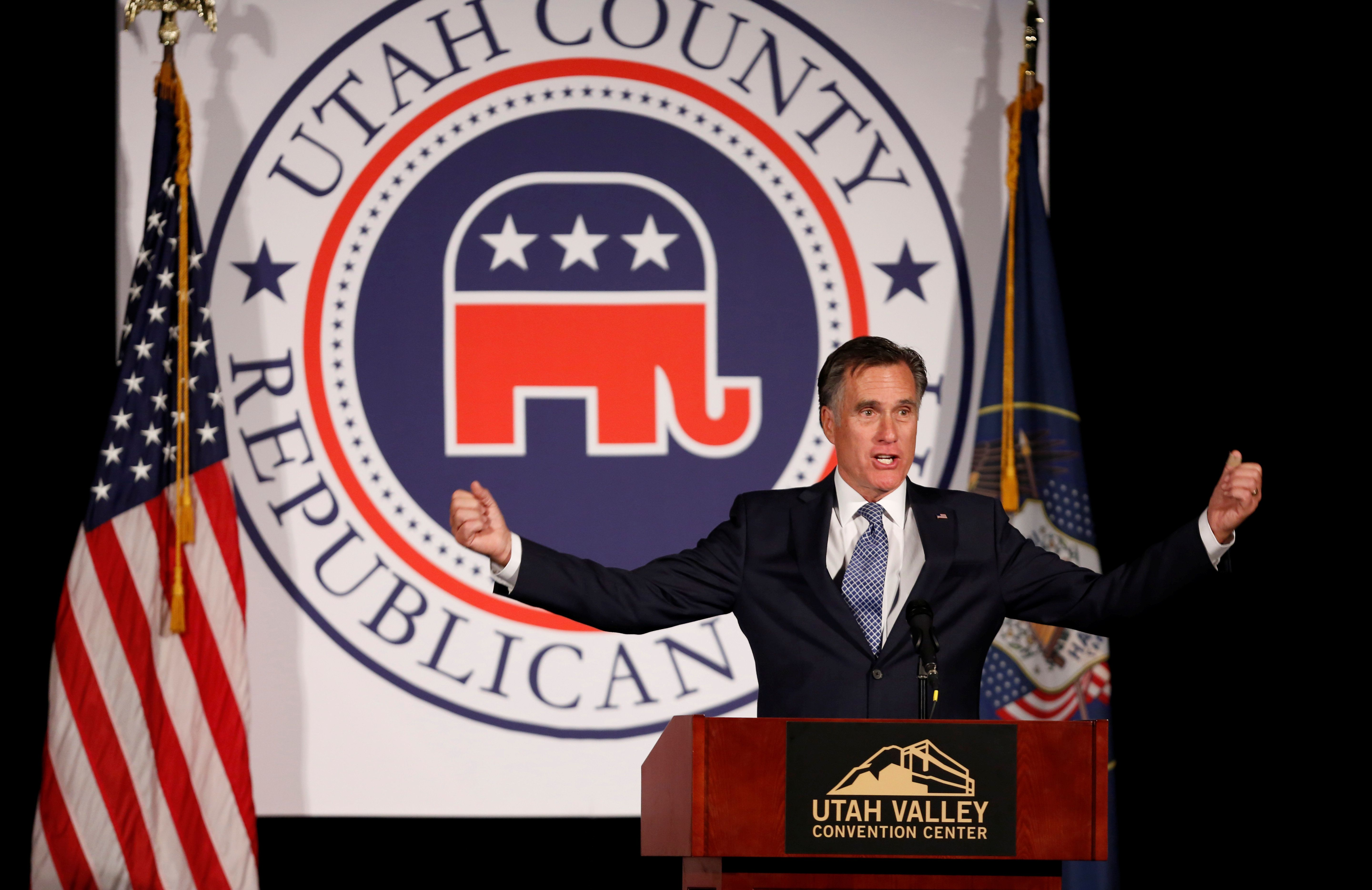 Former U.S. presidential candidate Mitt Romney speaks at the Utah County Republican Party Lincoln Day Dinner, in Provo, Utah, U.S. February 16, 2018.  REUTERS/Jim Urquhart
