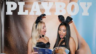 LOS ANGELES, CA - JUNE 23:  Playmates Heather Rae Young and Hiromi Oshima celebrate the release of Playboy magazine's 'The Freedom Issue' at No Vacancy on June 23, 2016 in Los Angeles, California.  (Photo by Rich Polk/Getty Images for Playboy)