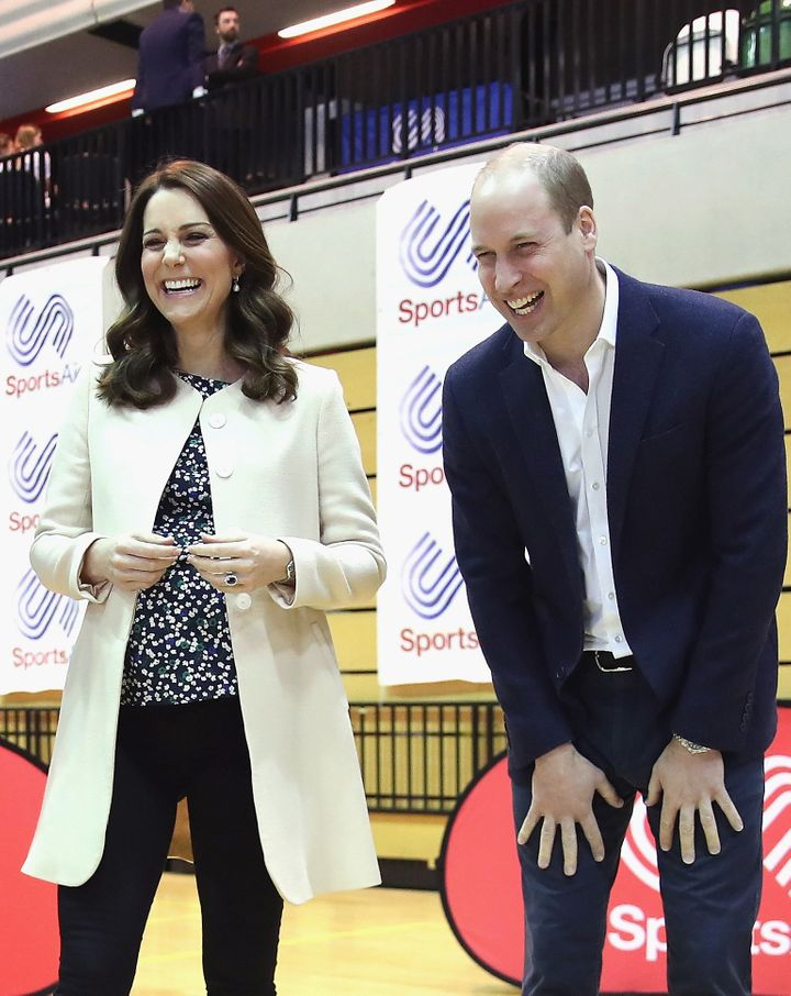 """Prince William, Duke of Cambridge and Catherine, Duchess of Cambridge on 22 March 2018 <a href=""""https://www.huffingtonpost.co.uk/entry/duchess-of-cambridge-maternity-leave_uk_5ab3af1fe4b008c9e5f4c89f?utm_hp_ref=uk-duchess-of-cambridge"""" target=""""_blank"""" role=""""link"""" data-ylk=""""subsec:paragraph;g:73a04daa-a282-371d-bb1d-04b9457f22a5;itc:0;cpos:__RAPID_INDEX__;pos:__RAPID_SUBINDEX__;elm:context_link"""">during one of their last public engagements</a> ahead of the birth of their third child."""