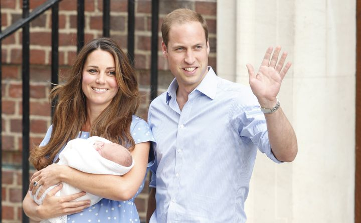 The Duke and Duchess of Cambridge leave the Lindo Wing of St Mary's Hospital in London, with their newborn son, Prince George of Cambridge on 23 July 2013.