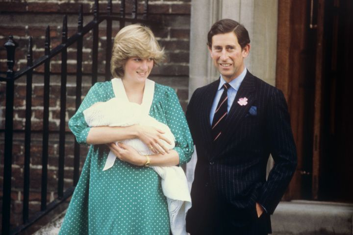 The Prince and Princess of Wales leaving the Lindo Wing, at St. Mary's Hospital after the birth of their baby son, Prince William in 1982.