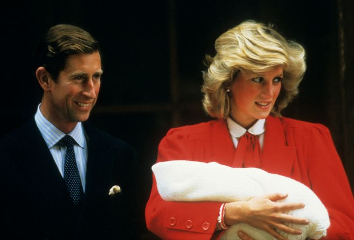 Prince Charles and Princess Diana with the newly born Prince Harry outside the Lindo Wing in 1984.