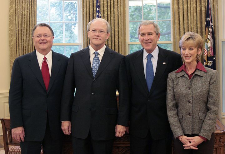 President George W. Bush poses withDr. Frank Page (second from left) and his wife Dayle, and another Southern Baptist l