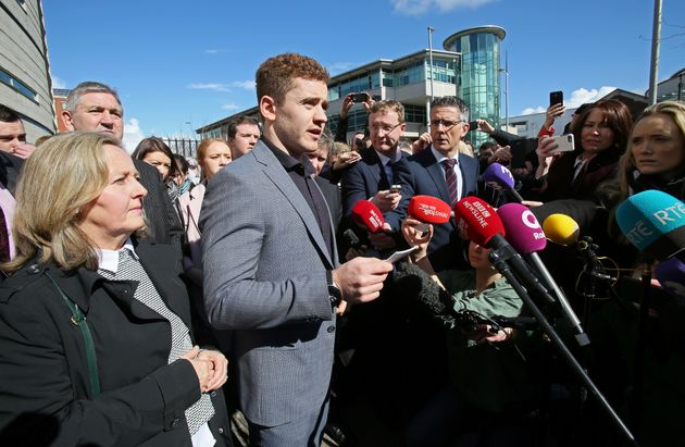 Paddy Jackson addresses reporters after the