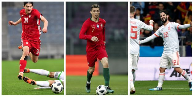 Sardar Azmoun (Iran), Cristiano Ronaldo (Portugal) et Isco (Espagne)ont tous marqué pendant...