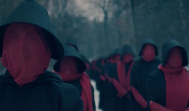 "A screenshot from the most recent trailer for Hulu's ""The Handmaid's Tale."""