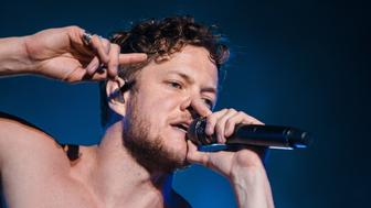 SAO PAULO, BRAZIL - MARCH 24: Dan Reynolds singer member of the band Imagine Dragons performs live on stage during the second day of Lollapalooza Brazil Festival at Interlagos Racetrack on March 24, 2018 in Sao Paulo, Brazil. (Photo by Mauricio Santana/Getty Images)