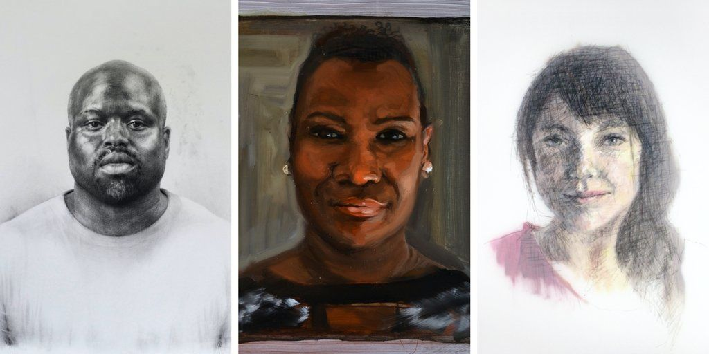 Some of the portraits featured in the mixed-media series Face New York.