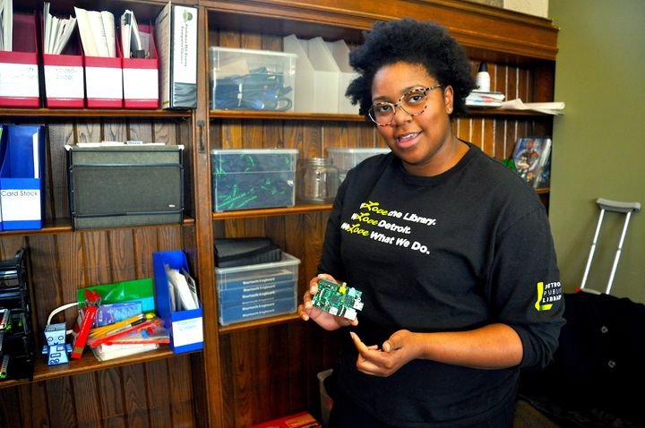 "Qumisha ""Q"" Goss explains how she uses the Raspberry Pi, a cheap mini-computer, to teach students programming at the Parkman"