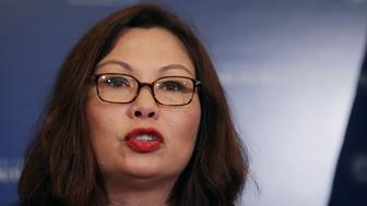 WASHINGTON, DC - JULY 11:  Sen. Tammy Duckworth (D-IL) speaks during a news conference about resisting the Trump Administration's Presidential Advisory Commission on Election Integrity with at the U.S. Capitol July 11, 2017 in Washington, DC. Citing no evidence of widespread voter fraud in the United States, Duckworth said the commission is an attempt at voter suppression and a threat to cyber security for America's 200 million registered voters.  (Photo by Chip Somodevilla/Getty Images)