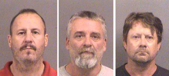Curtis Allen, 49, left, Gavin Wright, 49, and Patrick Eugene Stein, 47, are shown in booking photos from 2016 in Wichita, Kan