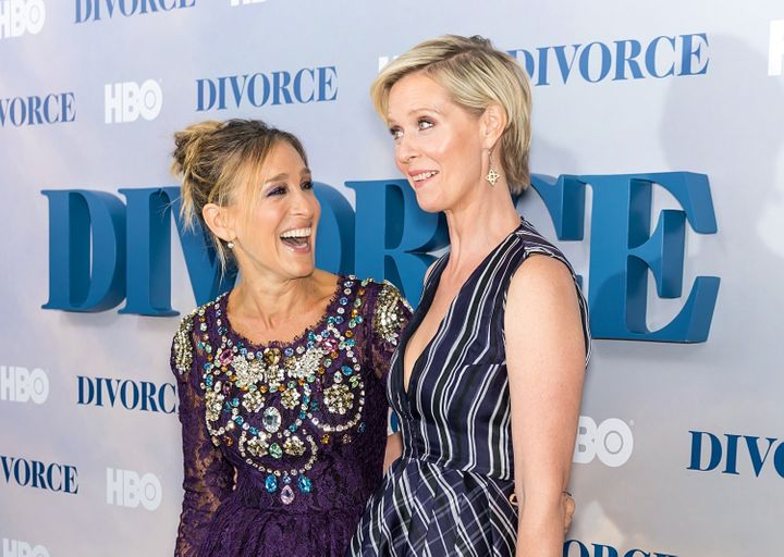 Sarah Jessica Parker and Cythnia Nixon at a New York City premiere in 2016.