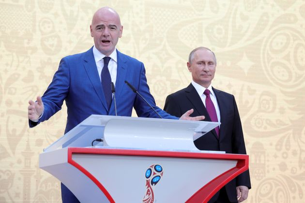 FIFA President Gianni Infantino (left) and Russian President Vladimir Putinattend the FIFA World...