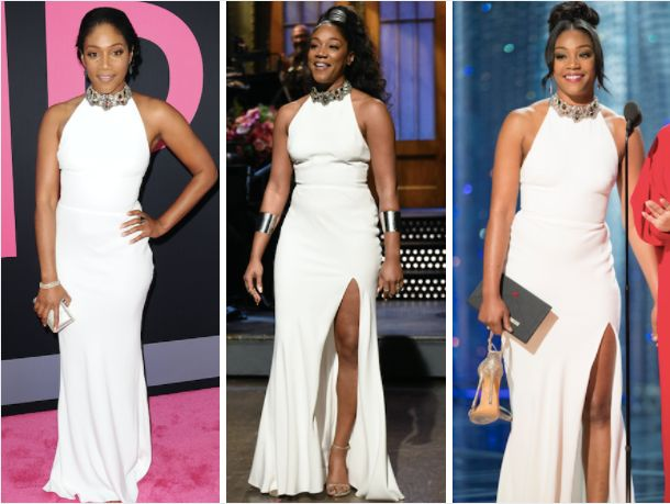 "Tiffany Haddish at the ""Girls Trip"" in July 2017 (L), hosting ""Saturday Night Live"" in Nov. 2017 (M)"