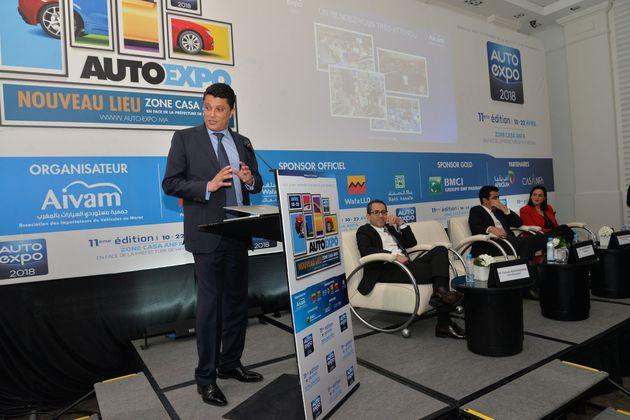 Adil Bennani, président de l'AIVAM lors de la conférence de presse Auto-Expo