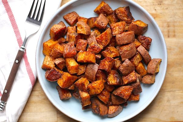"""<strong>Get the <a href=""""http://www.thehungryhutch.com/chili-roasted-sweet-potatoes-recipe/"""" target=""""_blank"""">Chili-Roasted Sw"""