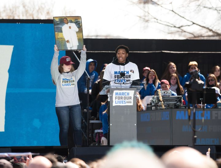 Trevon Bosley speaks during March For Our Lives on March 24, 2018 in Washington. Bosley's brother Terrell, in the photo