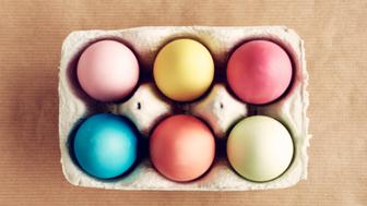 Carton of painted eggs ready for Easter