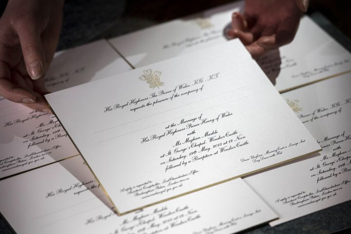 Invitations for the wedding of Prince Harry and Meghan Markle are shown on March 22 after they were printed at the works