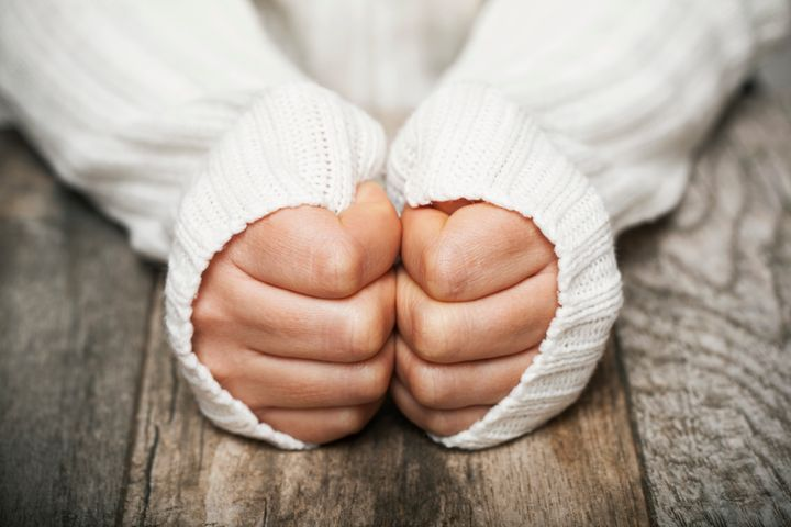 If you know you're prone to cold hands and feet, dress warm, like with thick gloves and wool socks.