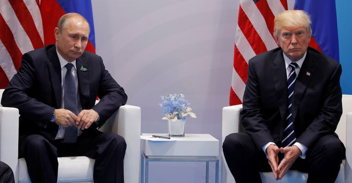 The president reportedly made the comments during his congratulatory call with Russian leader Vladimir Putin, left, last