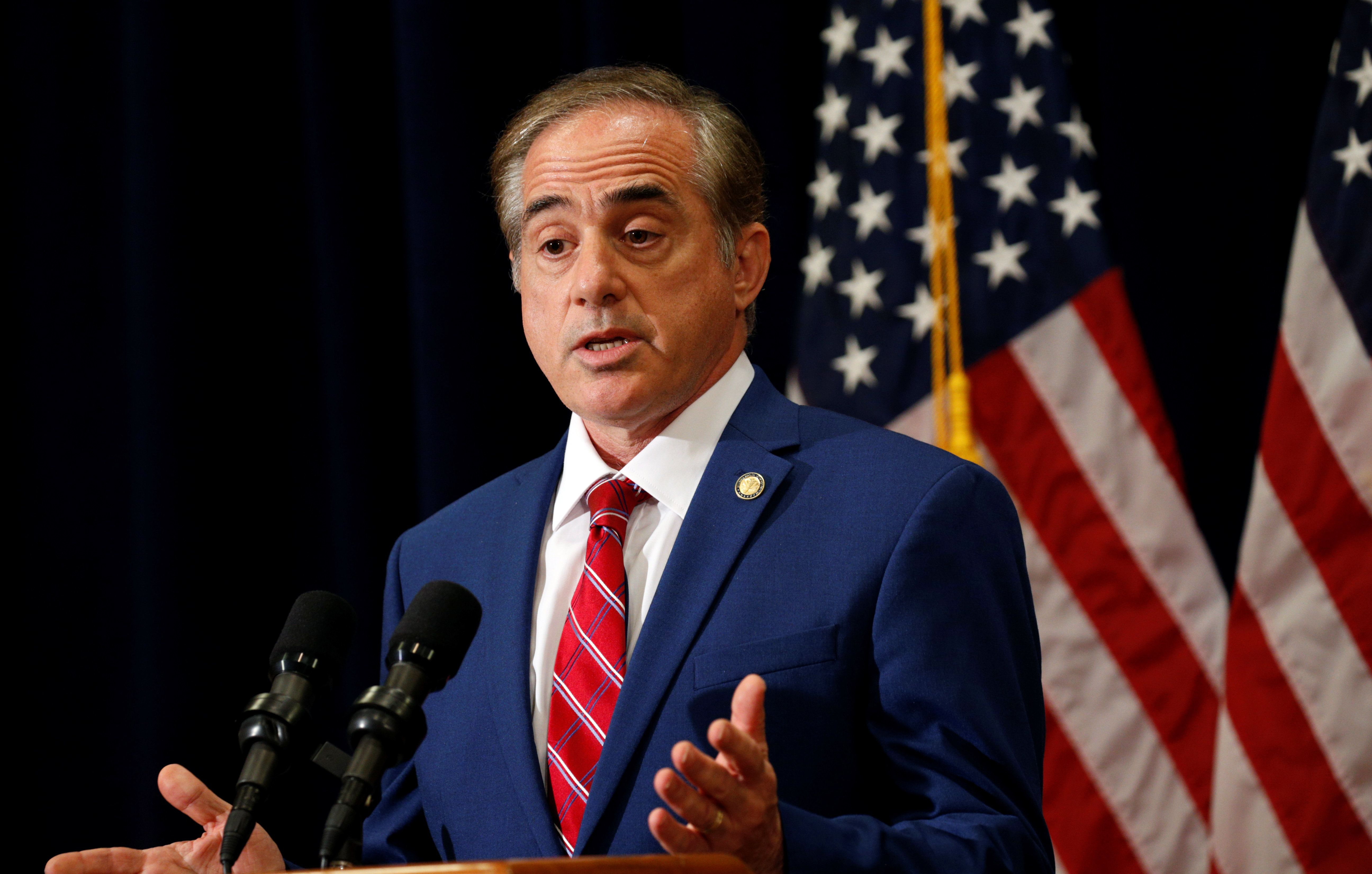 David Shulkin,seen here speaking to reporters in August 2017, was ousted by President Donald Trump on Wednesday.