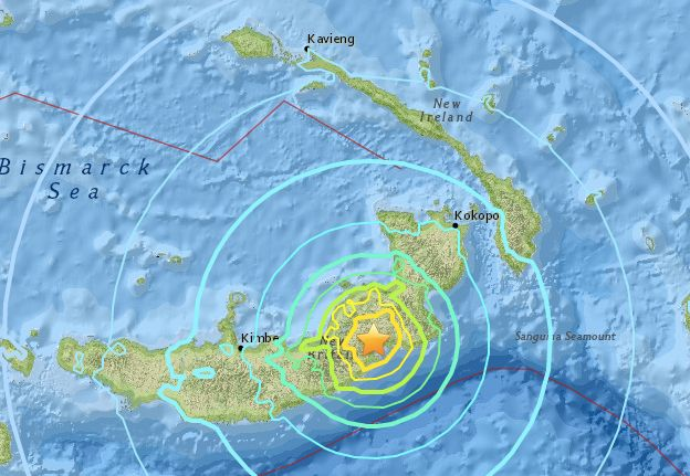 A powerful earthquake struck off an island near Papua New Guinea one month after a pair of deadly earthquakes shook the count