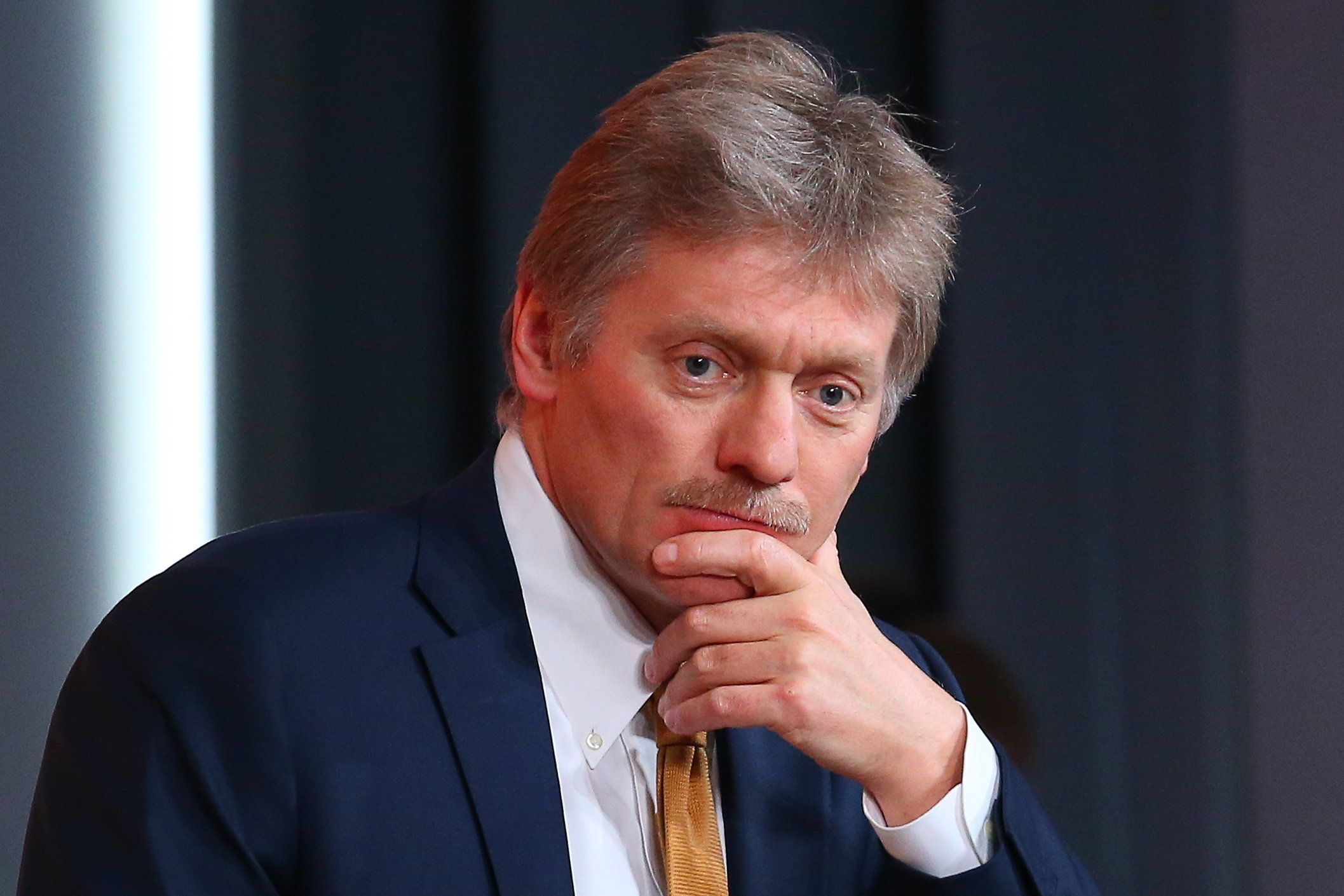 Russian presidential spokesman Dmitry Peskov is seen during an annual pressconference at Moscow's World Trade Center on