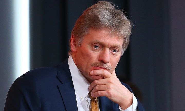 Russian presidential spokesman Dmitry Peskov is seen during an annual press conference at Moscow's World Trade Center on