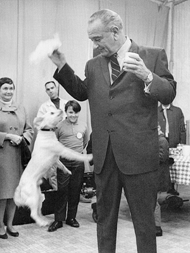 Johnson plays with terrier mix Yuki in 1968.