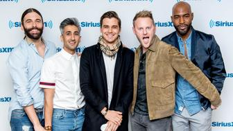 NEW YORK, NY - FEBRUARY 14:  Jonathan Van Ness, Tan France, Antoni Porowski, Bobby Berk and Karamo Brown visit SiriusXM to talk about the 'Queer Eye for the Straight Guy' reboot at SiriusXM Studios on February 14, 2018 in New York City.  (Photo by Roy Rochlin/Getty Images)