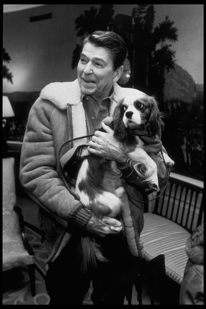 Reagan holds Rex in the Diplomatic Reception Room of the White House in 1986.